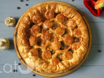 Пирог с курицей и шампиньонами